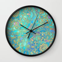 black Wall Clocks featuring Sapphire & Jade Stained Glass Mandalas by micklyn