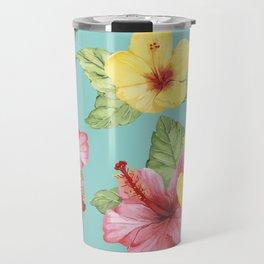 Tropical Hawaiian Hibiscus Floral Print Travel Mug