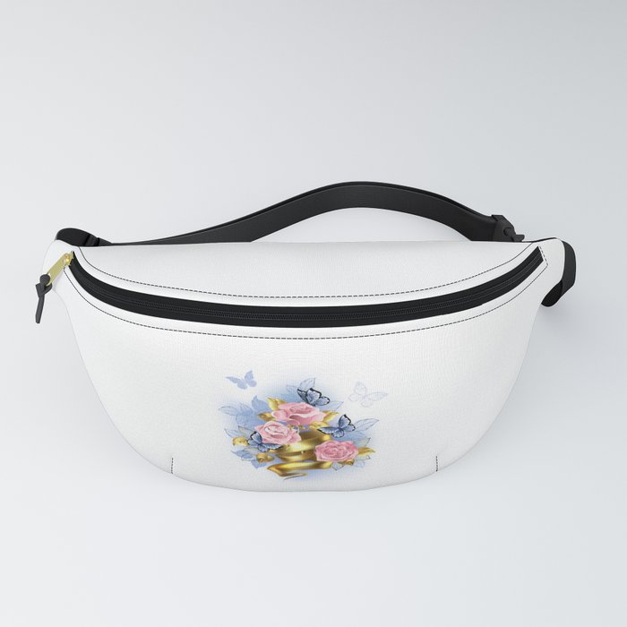 Pink Roses with Gold Ribbon Fanny Pack