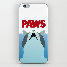 PAWS - Spoof movie poster inspired by classic cult horror film JAWS iPhone Skin
