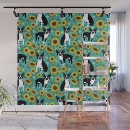 Boston Terrier sunflower floral dog breed pet portrait pet friendly pattern dogs gifts Wall Mural