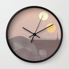 Retro Travel Poster Series - Star Wars - Tatooine Wall Clock