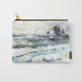 Siberia. Winter landscape / Watercolor. Carry-All Pouch