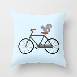 Squirrel Riding Bike Throw Pillow