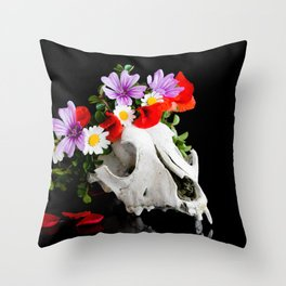 Animal skull with a wreath of wild flower Throw Pillow