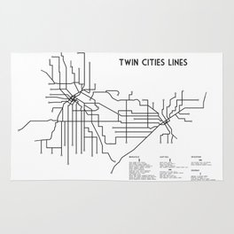 Twin Cities Lines Map Rug