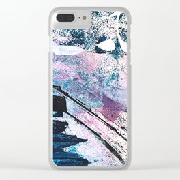 Breathe [5]: colorful abstract in black, blue, purple, gold and white Clear iPhone Case