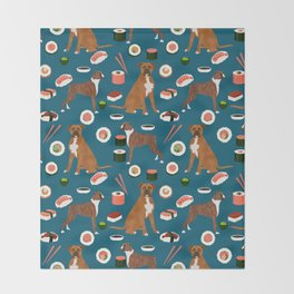 Boxer dog pattern sushi dog lover pet portraits boxers dog breed by pet friendly Throw Blanket