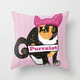 Purrsist Kitty Throw Pillow