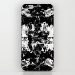 Electrifying black and white sparkly triangle flames iPhone Skin