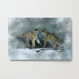 Playful Tiger Cubs Metal Print