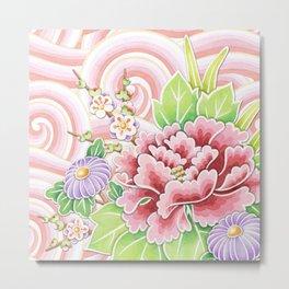 Pink Kimono Bouquet Metal Print