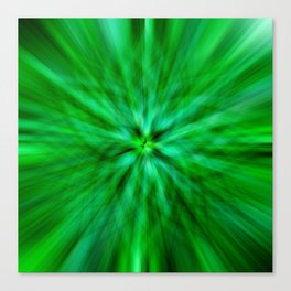 Green Star Flower Glow Canvas Print