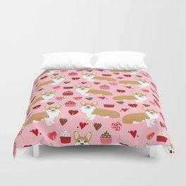 Corgi cupcakes valentines day cute love hearts dog breed corgi crew welsh corgis gifts Duvet Cover