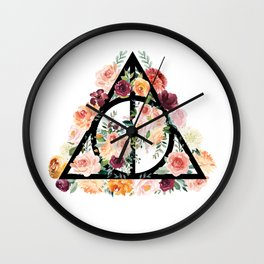Watercolor Deathly Hallows Wall Clock