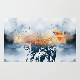 French bulldog and landscape abstract design Rug
