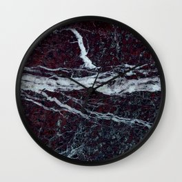 Black marble with white vains marble print luxuous real rock marble surface texture Wall Clock