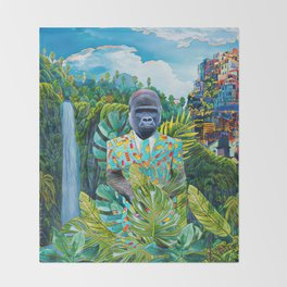 Gorilla in the jungle Throw Blanket