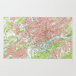 Vintage Map of Knoxville Tennessee (1966) Rug