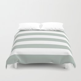 Ash gray - solid color - white stripes pattern Duvet Cover