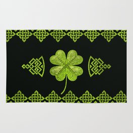 Irish Shamrock Four-leaf clover with celtic decor Rug