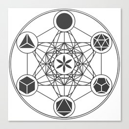 Metatron's Cube with Platonic Solids and Seed of Life Canvas Print