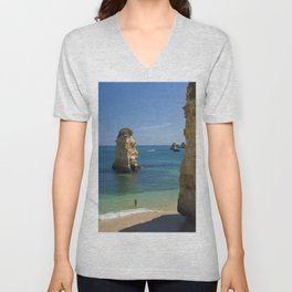 Rock on the beach, the Algarve coast, Portugal Unisex V-Neck