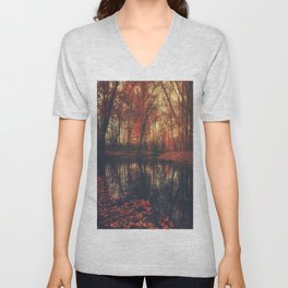 Where are you? Autumn Fall - Autumnal forest Unisex V-Neck
