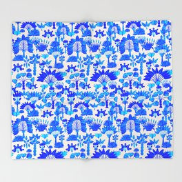 Exotic Garden Blue Throw Blanket