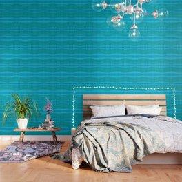 Wavy Aqua Green Intricate Stripes Wallpaper