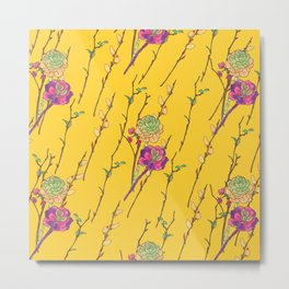 oriental flower stripe yellow Metal Print