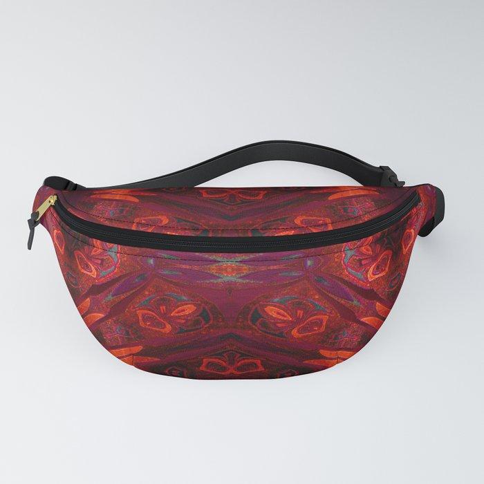 Deep Red Crimson Velvet Boho Glow Neo Tribal Print Fanny Pack