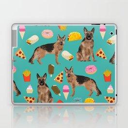 German Shepherd junk food pizza donuts ice cream burrito funny dog art pet portrait Laptop & iPad Skin