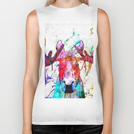Moose Watercolor Grunge Biker Tank
