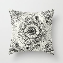 Messy Boho Floral in Charcoal and Cream  Throw Pillow