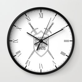 Crossed Swords and Shield Outline Wall Clock