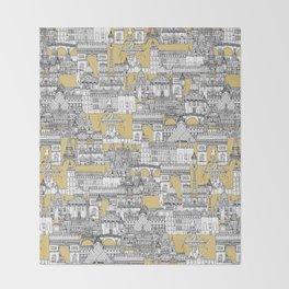 Paris toile gold Throw Blanket