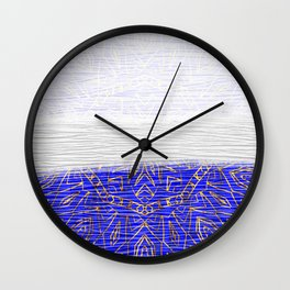 385 Blue Gold White Abstract Mandala Wall Clock