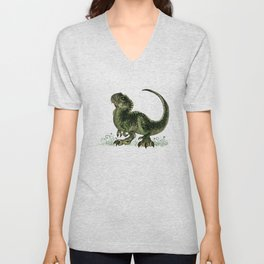 """Baby T-Rex"" by Amber Marine ~ watercolor and ink, (Copyright 2013) Unisex V-Neck"
