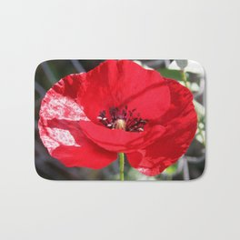 Single Red Poppy Flower  Bath Mat