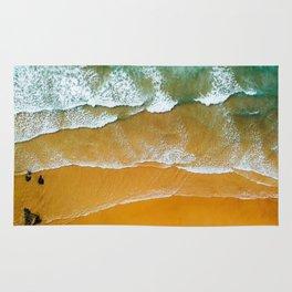 Ocean Waves Crushing On Beach, Drone Photography, Aerial Photo, Ocean Wall Art Print Decor Rug