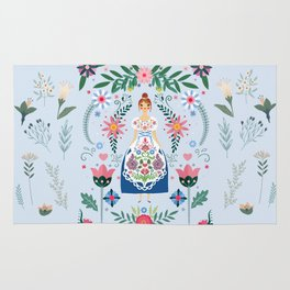 Fairy Tale Folk Art Garden Rug
