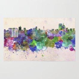 Sendai skyline in watercolor background Rug