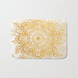 Queen Starring of Mandala-Gold Sunflower I Bath Mat