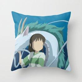 Minimalistic Spirited Away Chihiro and Haku Throw Pillow