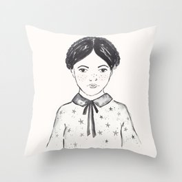 A little girl and the stars Throw Pillow
