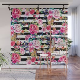 Cute spring floral and stripes watercolor pattern Wall Mural