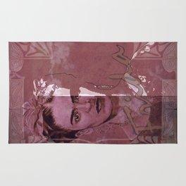 Frida Kahlo - between worlds - red Rug