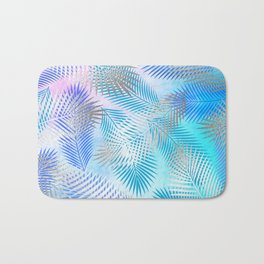 Watercolor and Silver Feathers on Watercolor Background Bath Mat