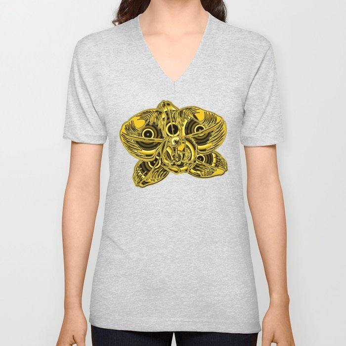 """""""Gold"""" Orchid Flower Special Edition 2 (Clear Back) Unisex V-Neck"""